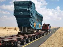 MAN  engine transported through the desert of Saudi Arabia